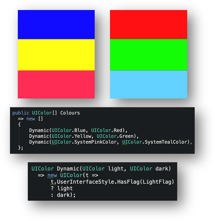 Defining custom dynamic colours programmatically