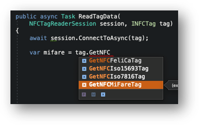 an image of VS4Mac autocomplete on an `INFCTag` that shows the possible completions for `GetNFC` - `GetNFCFeliCaTag`, `GetNFCIso15693Tag`, `GetNFCIso7816Tag`, GetNFCMiFareTag`
